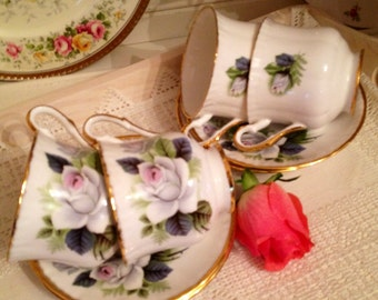 Vintage tea cup and saucer by Priory Dale with pale roses