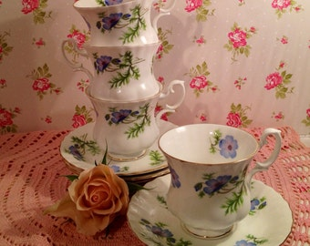 Richmond (Royal Albert) Blue Poppy  Vintage Blue and White Coffee Cup and saucer. CC008
