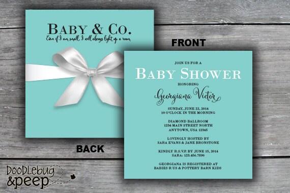 gift box baby shower invitation tiffany co inspired digital