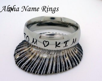 Custom Hand Stamped Stainless Steel Name Ring For Men or Women 6mm Promise Ring ANR-R001-6
