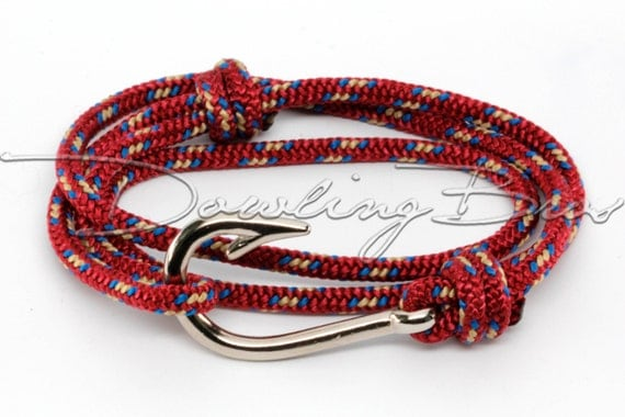Burgundy red nautical fish hook bracelet for men women for Mens fish hook bracelet