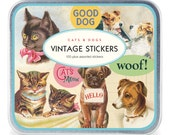 vintage stickers Decorative Sticker set  cats and dogs in metal box srcapbooking packaging vintage stickers