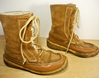 Vintage Ll Bean Made In Canada Brown Leather Snow Winter