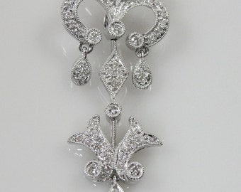 Diamond and White Gold Fleur De Lis Pearl Enhancer 38FVUR-D