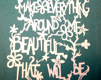 Elsie de Wolfe quote handmade paper cut out