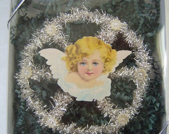 20% SALE! Vintage Angel Scrap German Metal Tinsel & Dresden Handmade Victorian Christmas Tree Ornament