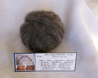 1 oz. Alpaca Roving -  100% Natural Med. Silver Grey For Spinning, Nuno Felting or Needle Felting