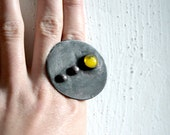 Statement copper ring, yellow drop, cocktail ring, unique ring, adjustable ring - ArtKvarta