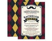 Bachelor Party Invitations - Mustache & Argyle - Printed Bachelor Party Invitations - Printable Bachelor Party Invitations