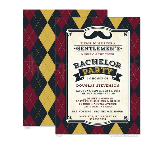 Bachelor Party Invitations - Mustache & Argyle - Printed Bachelor ...