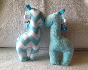 Aqua chevron & minky giraffe taggy rattle squeaker