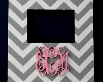 Grey Chevron Frame with a Light Pink Monogram