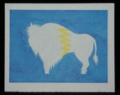White Lightning Watercolor Painting Notecard - Buffalo - Bison - Native American Style