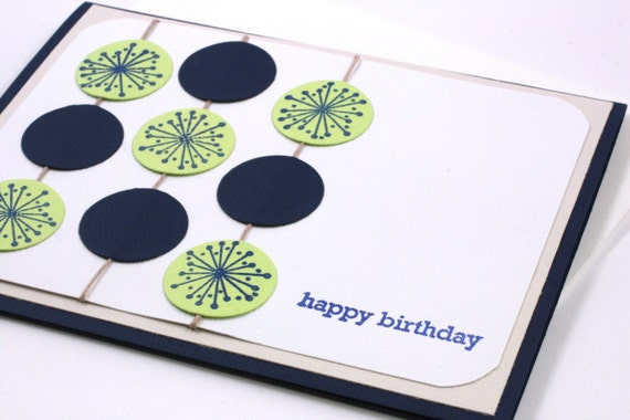 Adult Birthday Card, Hand Made Card with Blue, Green Circles