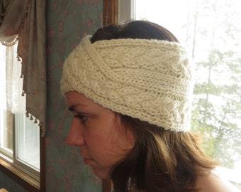 Women's handknit ecru headband