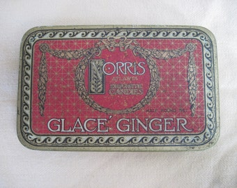 """Vintage candy tin """"Glace' Ginger"""" by Norris, Atlanta, exquisite candies, half pound net"""