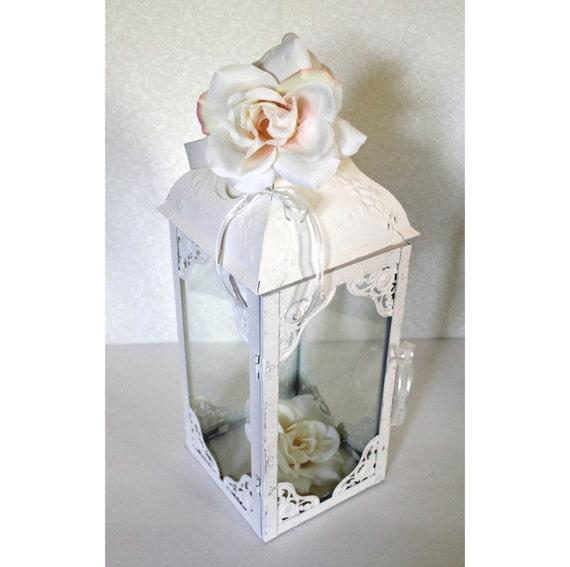 Wedding lantern centerpiece antique white bright ivory