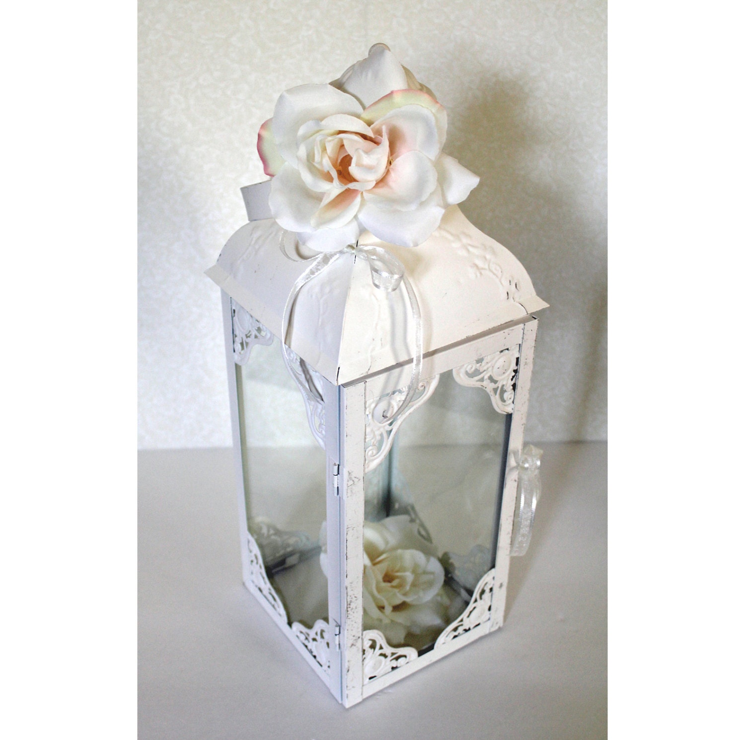Wedding Lantern Centerpiece Antique White & Bright Ivory