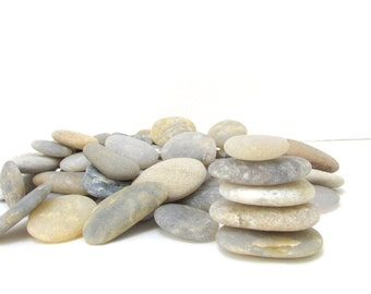 Beach Stones 70 + Smooth Flat Beach Rocks / Wedding Guest Book  / Wishing Stones / Guest Book Stones / Oathing Stones