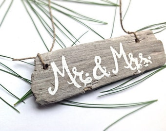 Mr. and Mrs. Wedding Ornament-Beach Ornament-Wooden Christmas Ornaments-Reclaimed Wood Ornaments-Hand Painted Christmas Decoration