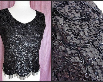 SEQUINED BEADED Vintage 50s 1950s Sweater // fits S // Made in Hong Kong // Black caviar beads, bugle beads, sequins