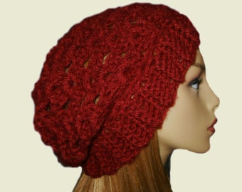 Red Slouchy Beanie Festival Wear Night Club Hat Dark Red Knit Crochet Cranberry Chili Pepper Beany Hat Slouch Women Hat