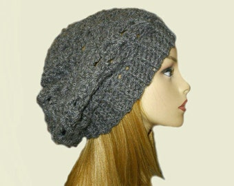 GRAY SLOUCHY Hat Crochet Knit Hat Charcoal Grey Shouchie Beanie Slouch Hat Women Teen Bestseller Gift Idea Dark Gray Gift Idea