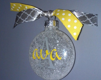 Personalized Ornament Glittery-Custom monogrammed ornament-yellow and grey filled with glitter