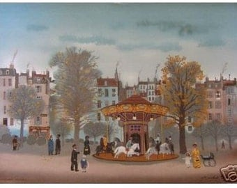 """Michel Delacroix """"Carousel"""" Limited Edition Lithograph -- Stone Signed Print"""