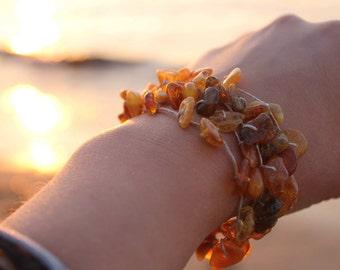 Baltic Amber Bracelet Multi Strand Linen Jewelry Raw Baltic Amber Honey Yellow Orange Natural Pure Zen Fishing Nets