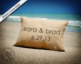 Personalized WEDDING Gift BURLAP PILLOW Cover-  Pillow with First Names & Established Date
