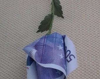 origami single rose flower  500 euro replica  faux money paper money