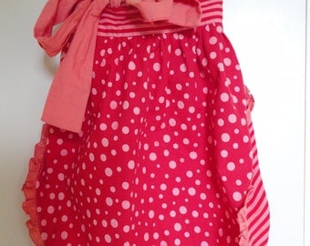 Red and Pink Ruffled Reversible Half Apron