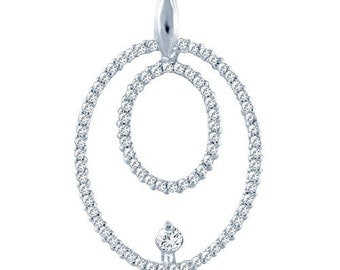 Sterling Silver Double Circle Pendant with Cubic Zirconia