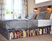Wood Platform Bed with Headboard and Bookshelf-Los Olivos