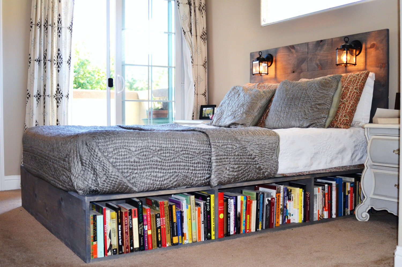 Brown Bookcase Headboard Full Queen Size Storage Bed Bedroom
