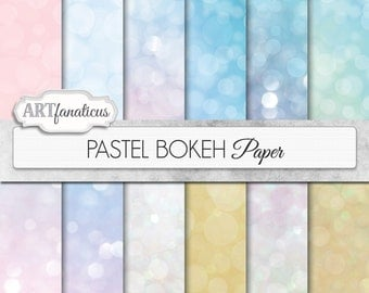 "Bokeh digital papers ""PASTEL BOKEH"" pink paper, blue paper, pink paper with bokeh for scrapbooking, photographers, invitations, albums"