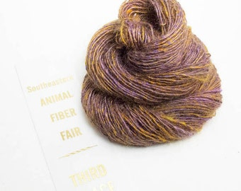 Handspun Singles, carded from Kid Mohair and Silk, in Deep Purple and Copper