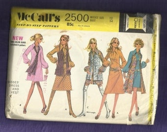 "Vintage 1970  McCalls 2500  Sew Retro Large Pointed Collar ""A"" Line Dress with Puff Sleeves & Long Vest  Size 12"