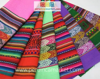 MADE IN PERU 8 Peruvian Blanket Manta Inca Tribal fabric to make your bags, purses, bracelets with this Inca cloth
