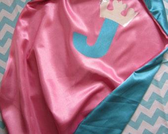 Girl super hero  cape.  Superhero girl cape with custom initial and shiny crown, princess superhero, princess cape