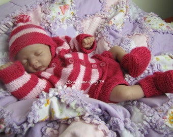 "knitting pattern for a 16""/40cm Dark & light pink sweater set preemie reborn baby ooak"