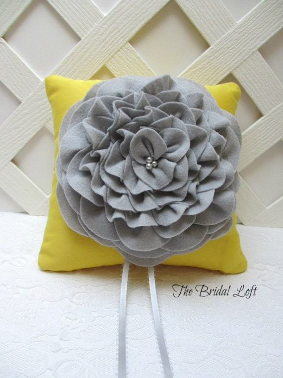 Yellow and Gray Wedding Ring Pillow - Handmade and Ready to Ship