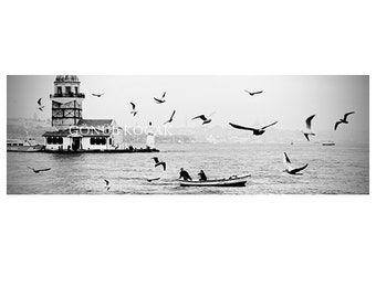 Large istanbul panorama, istanbul city, black and white, fine Art Photography, Print, city,  10x30 inch