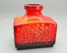 Orange / red  German vase by Silberdistel Fayencen vase