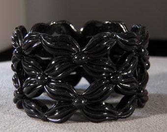 Vintage Jet Black Lucite Carved Raised Relief Art Deco Style Wide Bangle Bracelet