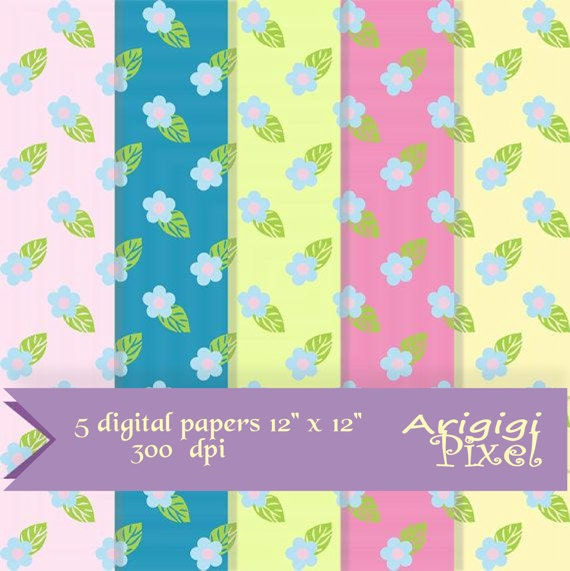 Digital Papers with small blue flowers - Scrapbooking Papers