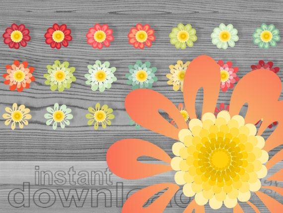 daisy clipart - daisy flowers clip art set - yellow red orange fall colors daisy graphics - digital flowers download