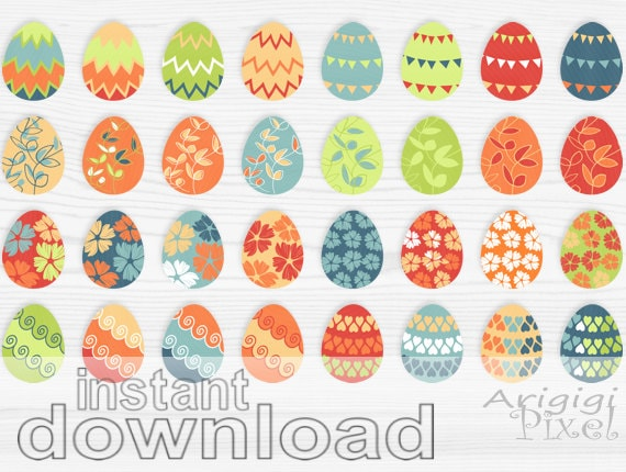 Easter eggs clip art set, spring holiday clipart, colorful, patterned, small business  use, digital elements, digital download
