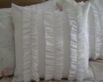 """White Ruffled Pillow Cover for 18"""" Pillow Insert"""
